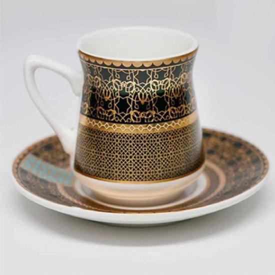 طقم فناجين قهوة 12 قطعة أسود وذهبي