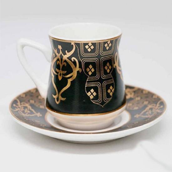 طقم فناجين قهوة 12 قطعة أسود مزخرف