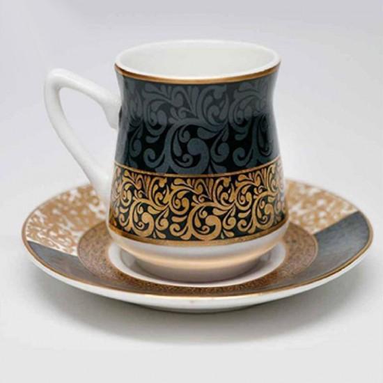طقم فناجين قهوة 12 قطعة تركوازي وذهبي