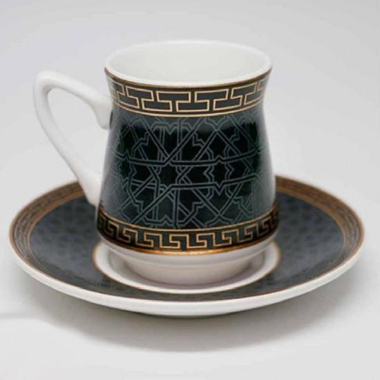 طقم فناجين قهوة 12 قطعة تركوازي مزخرف
